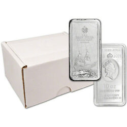 2021 St Helena Silver East India Company Andpound10 Bar Coin - 10 Oz - Bu Box Of 10