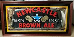 Rare Large Newcastle Brown Ale Wood Frame Glass Mirror Sign 3ft X 5ftpub Bar