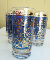 Signed Georges Briard Blue Flower And 22k Gold Trim Mid Century 6 Highball Glasses
