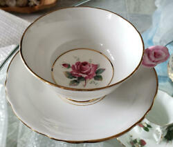 Rare Paragon Rose Handle Light Blue White Cup And Saucer England Vintage