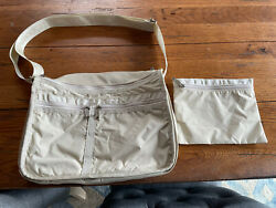 Vintage LeSportsac Cube Crossbody Tan Bay 11.25quot; Zipper Pockets AND Pouch $17.99