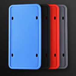 2pcs Silicone License Plate Frames Holder W/ Installation Hardware Screws And Caps