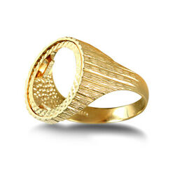 Jewelco London 9ct Gold Ribbed Barked 10th-krugerrand-size Ring