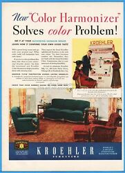 1939 Kroehler Furniture Chicago Il 1930's Living Room Suite Chair Sofa Photo Ad