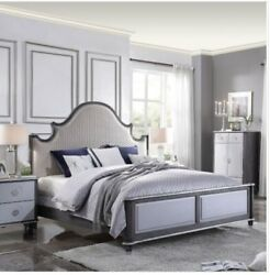 Acme House Beatrice Queen Bed In Two Tone Beige Fabric, Charcoal And Light Gray