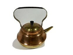 Vintage Copper And Brass Tea Kettle Holland Wrapped Handle Signed Jmg And Numbered