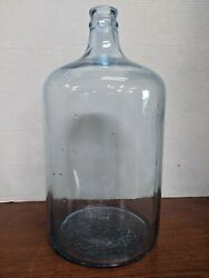 Collectible Unbranded Vintage Embossed 5 Gallon Blue Glass Water Jug 17 Tall