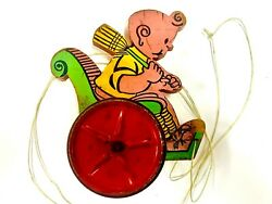 1934 Gong Bell Mfg. Co. Buttercup In Wheelchair Wooden Pull Toy