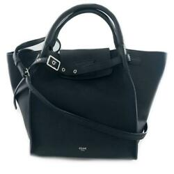Authentic Celine Big Bag Small Tote Bag 189313 Leather Black Used