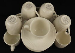 Vtg Mikasa Italian Countryside Set Of 10 Cups And Saucers Ivory Fluted/scroll Euc