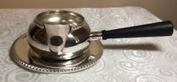 Vtg Sheffield Creamer/gravy/sauce Boat W/ Wooden Handle And Underplate Usa