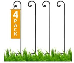 92 Inch 3/5 Inch Thick, Heavy Duty Wrought Iron Shepards Hook 4 Pack