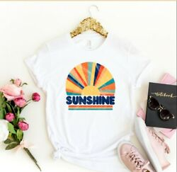 Womens Colorful Retro Distressed Sunshine Summer Graphic T-shirt Tops Tees Tee