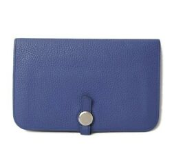 Hermes Purse Long Wallet Dogon Gm Togo Blue/silver Fittings