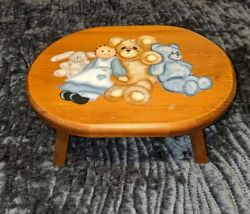 Vintage Wooden Hand Painted Child's Step Stool Bench Bears Dolls 4 Tall 11.5