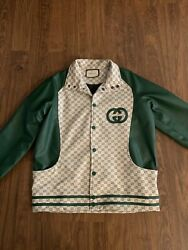 Gg Supreme Dragon Embroidred Leather Jacket Size - L