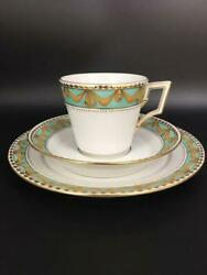 Kpm Kurland Berlin Trio Cup And Saucer And Dessert Plate Gold Lace Green Tea Coffee