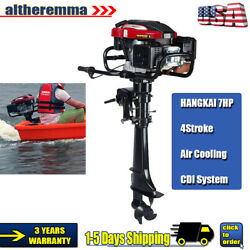 Boat 7.0hp 4-stroke Outboard Motor Boat Engine Long Shaft W/ Cdi Air Cooling Sys