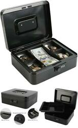 Large Steel Safe Box With Combination Lock Cash Money Tray Document Jewelry