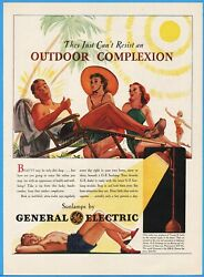 1939 General Electric Ge Sunlamp Women Can't Resist An Outdoor Complexion Art Ad