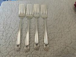 Set Of 4 1847 Rogers Is Eternally Yours Silverplate 7 1/2 Dinner Forks