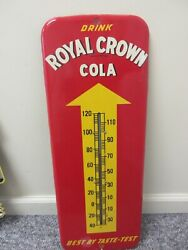 Vintage Advertsing Royal Crown Cola Store Fountain  Tin Thermometer M-752