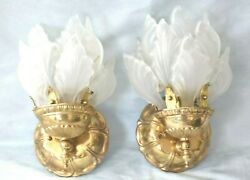 Large Pair Vintage Art Deco Frosted Glass French Flame Torch Wall Sconce Lamps