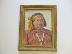Antique Vintage Robert Atwood Oil Painting 1930and039s Portrait Hopi American Indian