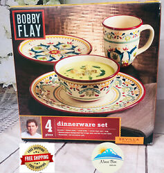 New In Box Retired Bobby Flay Sevilla Pattern Set Red Rim Four Pieces