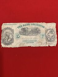 The Bank Of Lexington 1861 5 Five Dollars Note In Black And Green Inks
