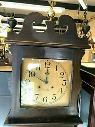 Antique Ithaca Grandfather Clock Queen Anne Tall Works W Key Runs And Chimes Old