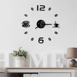 DIY 3D Large Number Black Big Wall Clock Sticker Decor for Home Office Room USA