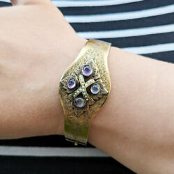 Antique Victorian Gold Hinged Bangle With Pearls And Amethyst, 18ct 22ct