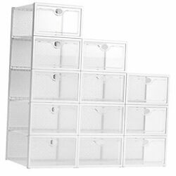 Stackable Shoe Box, 12 Pack Large Clear Plastic Shoe Storage Foldable Sneaker