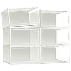 X-large Shoe Box Storage - Shoe Boxes With Lid, Clear Plastic Stackable White