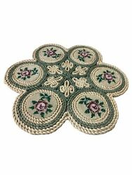 Vintage Wicker Straw Woven Raffia Trivets Hot Pads Lot Of 3 Xstitch Roses 17.5