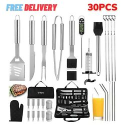 30pcs Grill Tools Set Stainless Bbq Grilling Barbecue Accessories Utensils Kit