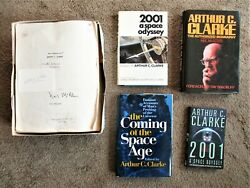 Arthur C. Clarke Collection Manuscript Biography + Four Books Signed And Inscribed