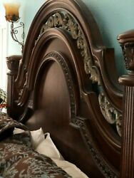 Old World Tuscan Style Bedroom Set Queen Size Dresser Armoire 2 Nightstands