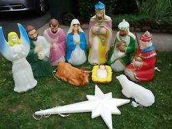 Rare Outdoor Vintage Blow Mold Nativity Christmas Set All Lighted 11 Pieces