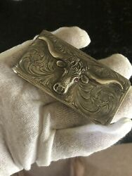 """1-1/2"""" X 3"""" All Sterling """"big Wad"""" Money Clip With Longhorn Steer And Ruby Eyes"""