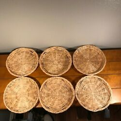 Lot - 6 Vintage Bamboo Wicker Rattan Paper Plate Holders Picnic Bbq Wall Decor