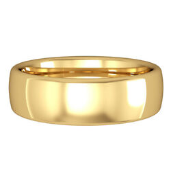 Jewelco London 18ct Yellow Gold 6mm Bombe Court Wedding Band Commitment Ring