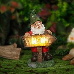 Garden Resin Gnome Statue Large Resin Gnome Figurine With Welcome Sign Solar Gno