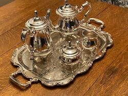 Vintage 1950's Fisher Sterling Silver E.p. 4 Piece With Tray
