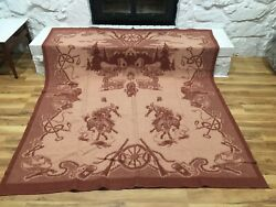 Vintage 40's 50s Western Frontier Cowboy Camp Blanket Cotton Two Sided 72 X 66