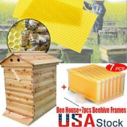 Us Practical Wooden Beekeeping Beehive House+7pcs Auto Run Bee Comb Hive Frames