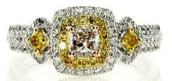 .52ct White Pink And Fancy Yellow Diamond 18kt Tri Color Gold Halo Engagement Ring