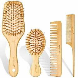 Bfwood Bamboo Hair Brush Set Eco-friendly Wooden Hair Brushes And Combs Set F...