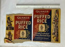 Lot 2 Vintage 1930s Quaker Puffed Rice Cereal Boxes
